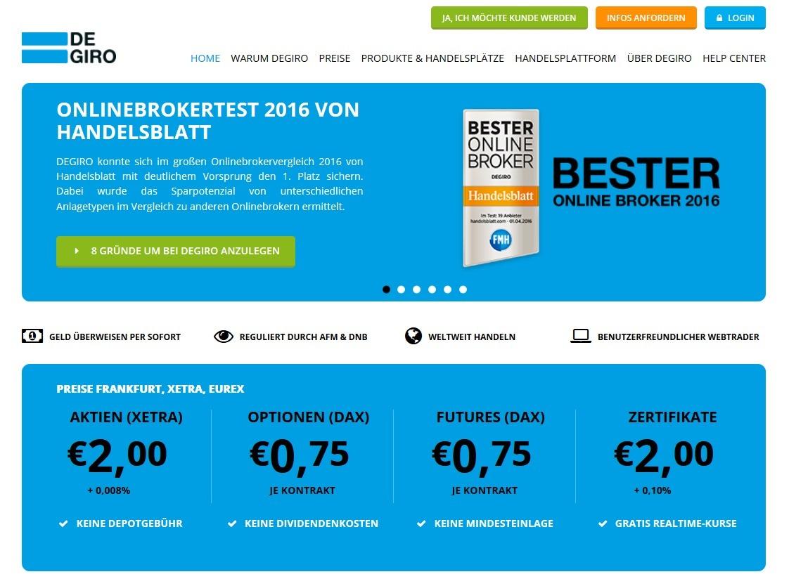 Screenshot DeGiro Kostenüberblick Wertpapierhandel