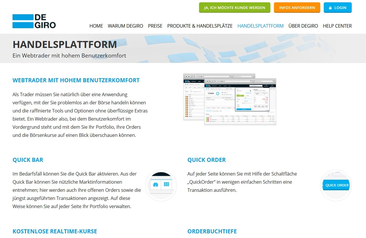 Screenshot DeGiro Webtrader Handelstool