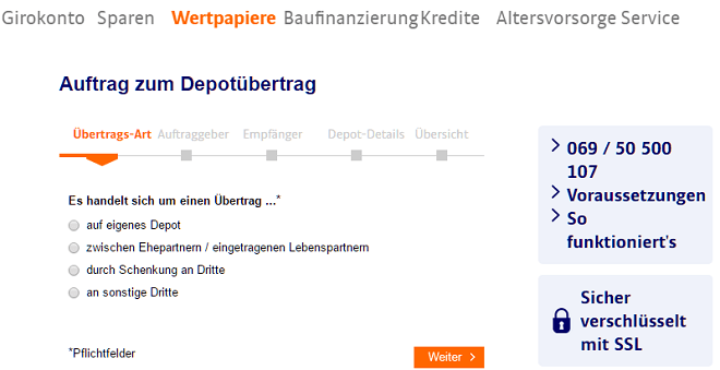Ing Diba Depotübertrag