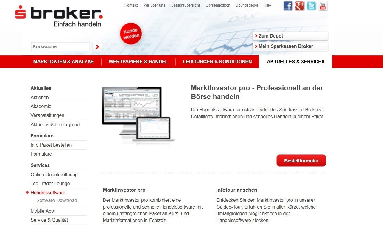 Screenshot Sparkassen Broker MarktInvestor pro