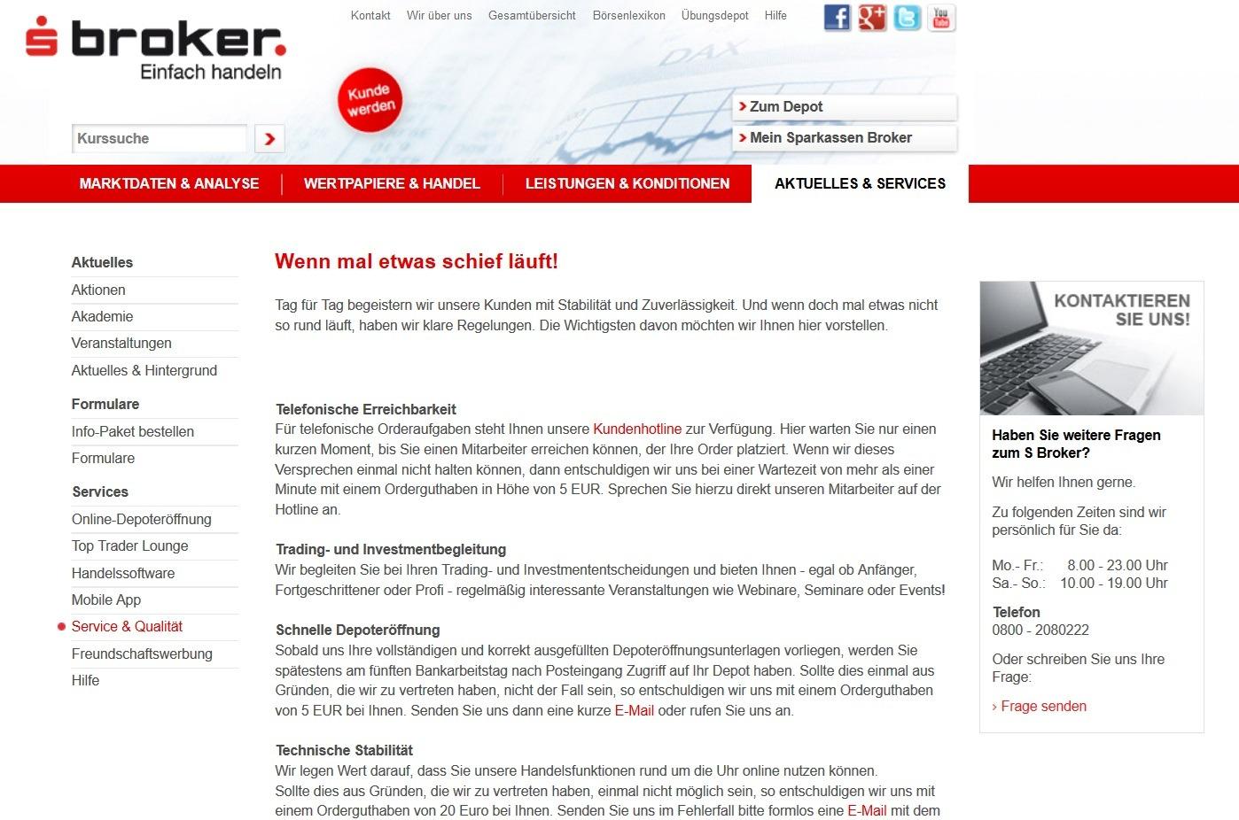 Screenshot Sparkassen Broker Servicequalität