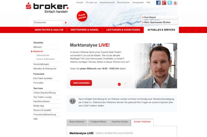 Webinare bei Sparkassen Broker