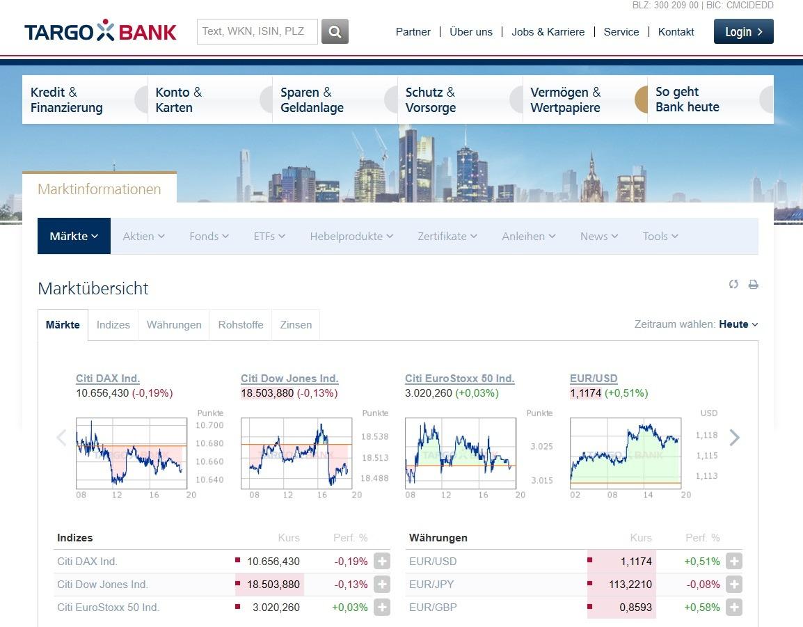 Screenshot Targobank Kursversorgung