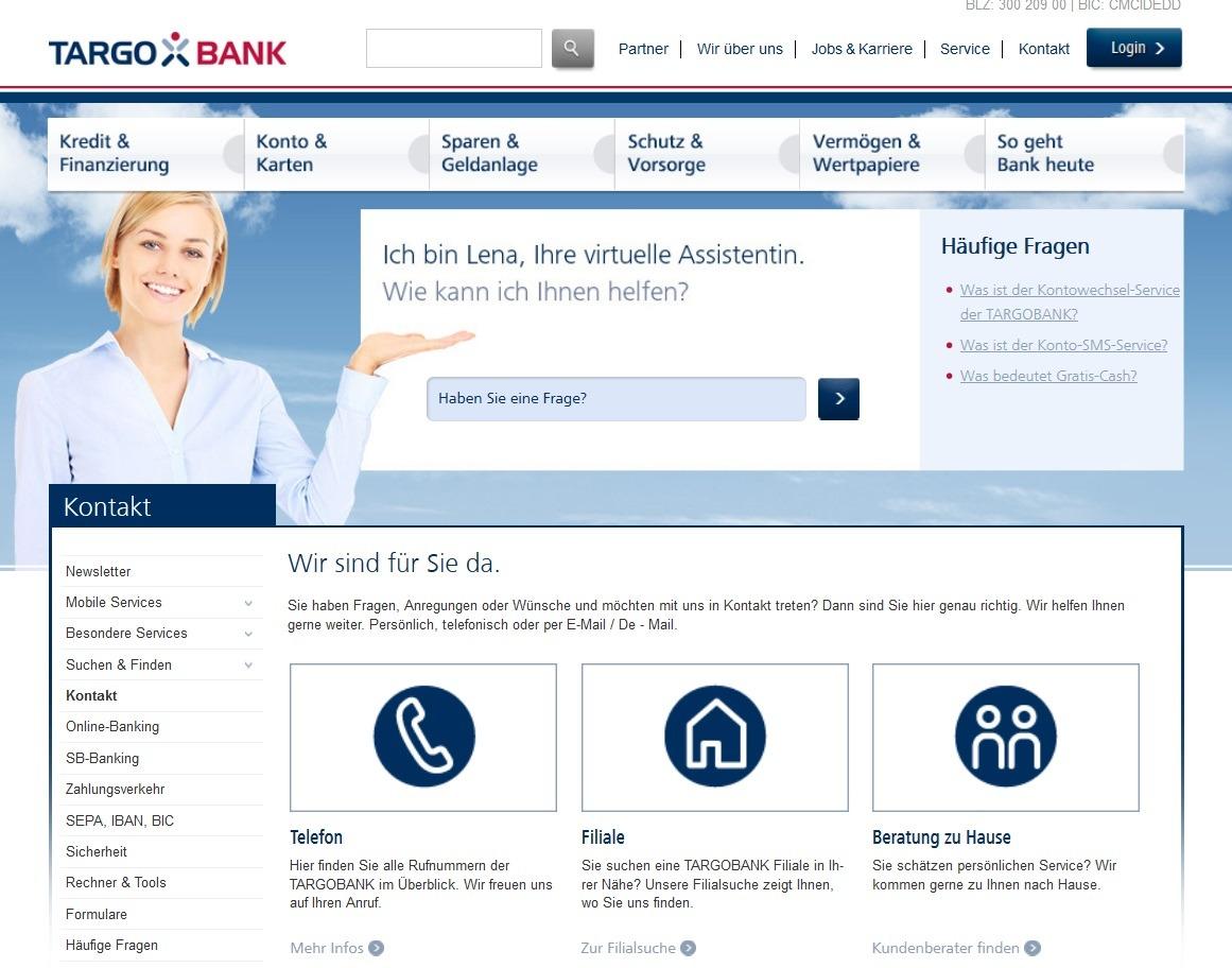 Screenshot Targobank Rufnummern Kundenservice