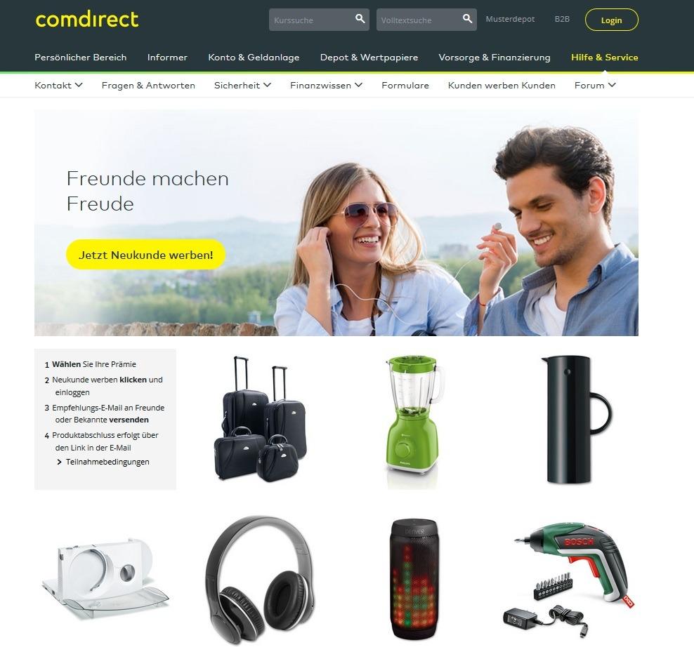 Screenshot comdirect Prämienprogramm Überblick