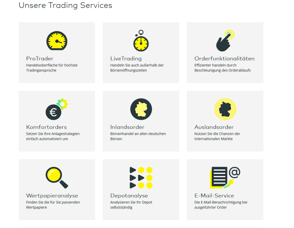 Trading Services bei comdirect