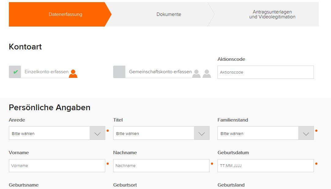 Das Online Formular zur flatex Kontoeröffnung