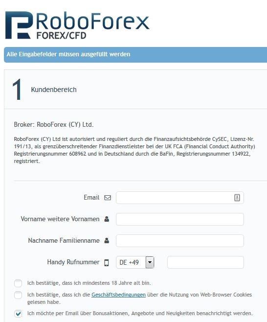 RoboForex Konto eröffnen - einfach über das Formular möglich
