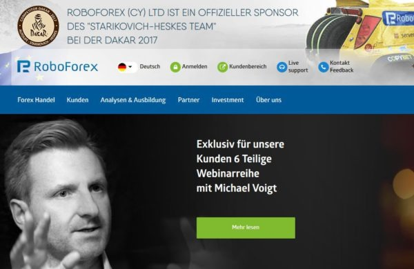 RoboForex Webauftritt