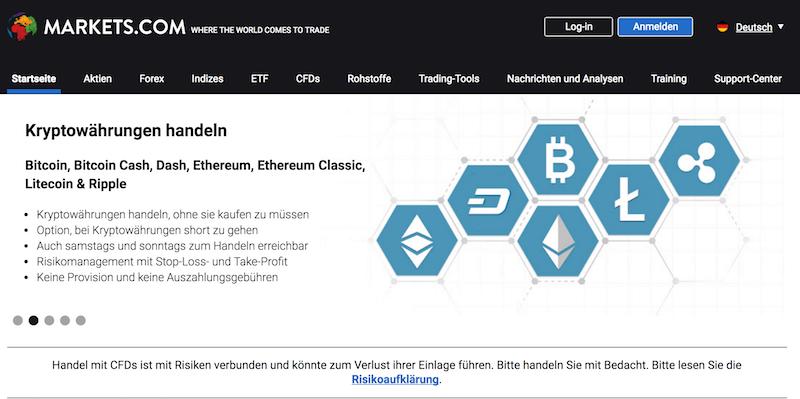 Markets.com Handel mit Kryptowährungen
