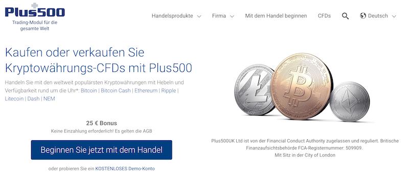 Plus500 Kryptowährungen Handel