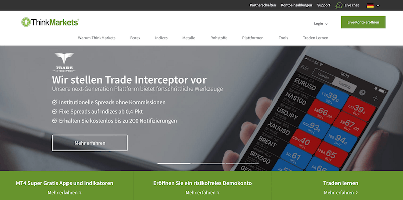 ThinkMarkets Webseite