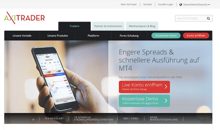 AxiTrader Webauftritt