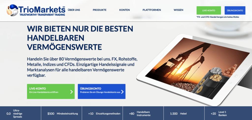 TrioMarkets Website - übersichtlich und optisch ansprechend