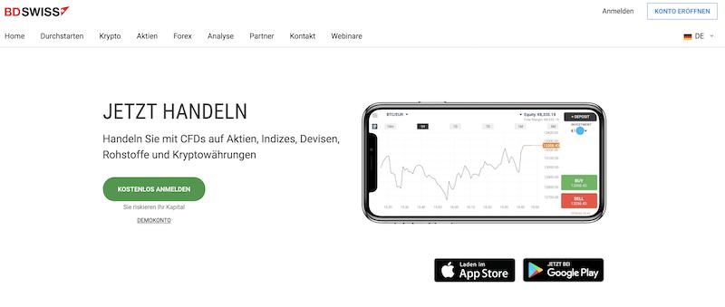 BDSwiss mobiler Handel