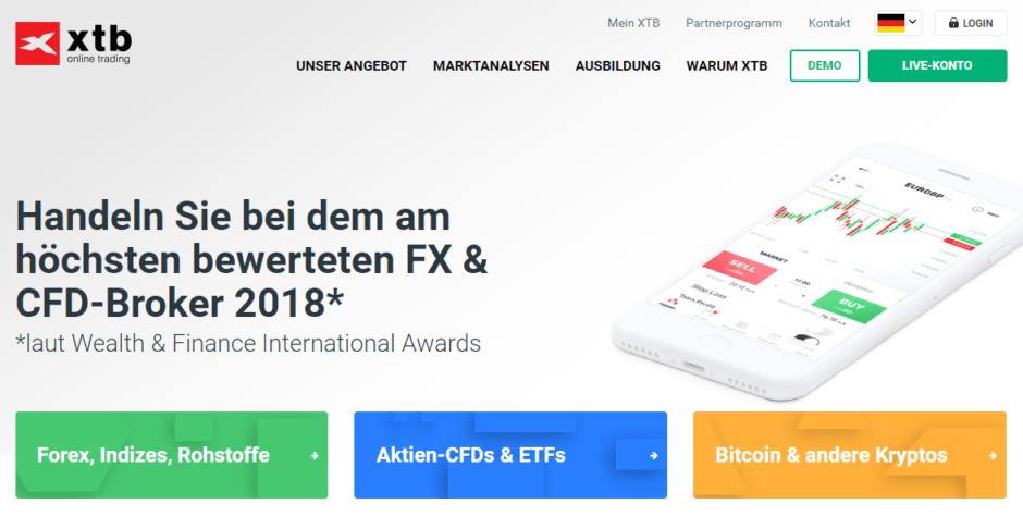 Unser Testsieger im Bereich CFD - der Online-Broker XTB
