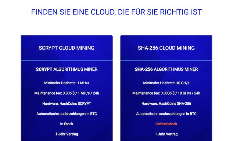 HashFlare Cloud-Mining Pakete
