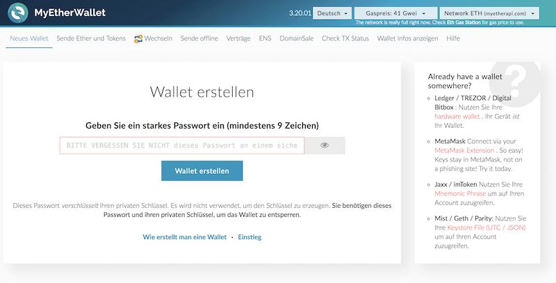 MyEtherWallet Wallet Eröffnung
