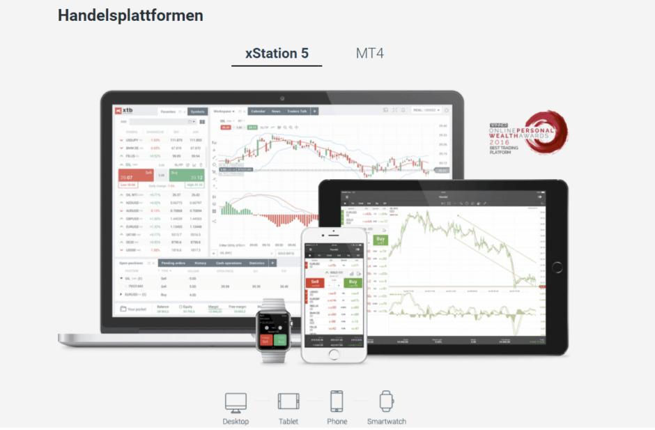 XTB bietet neben der hauseigenen Handelsplattform xStation 5 auch den MetaTrader4 an