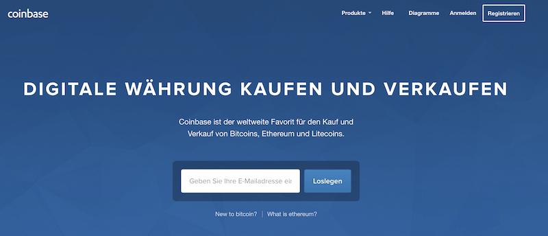 Coinbase Webseite