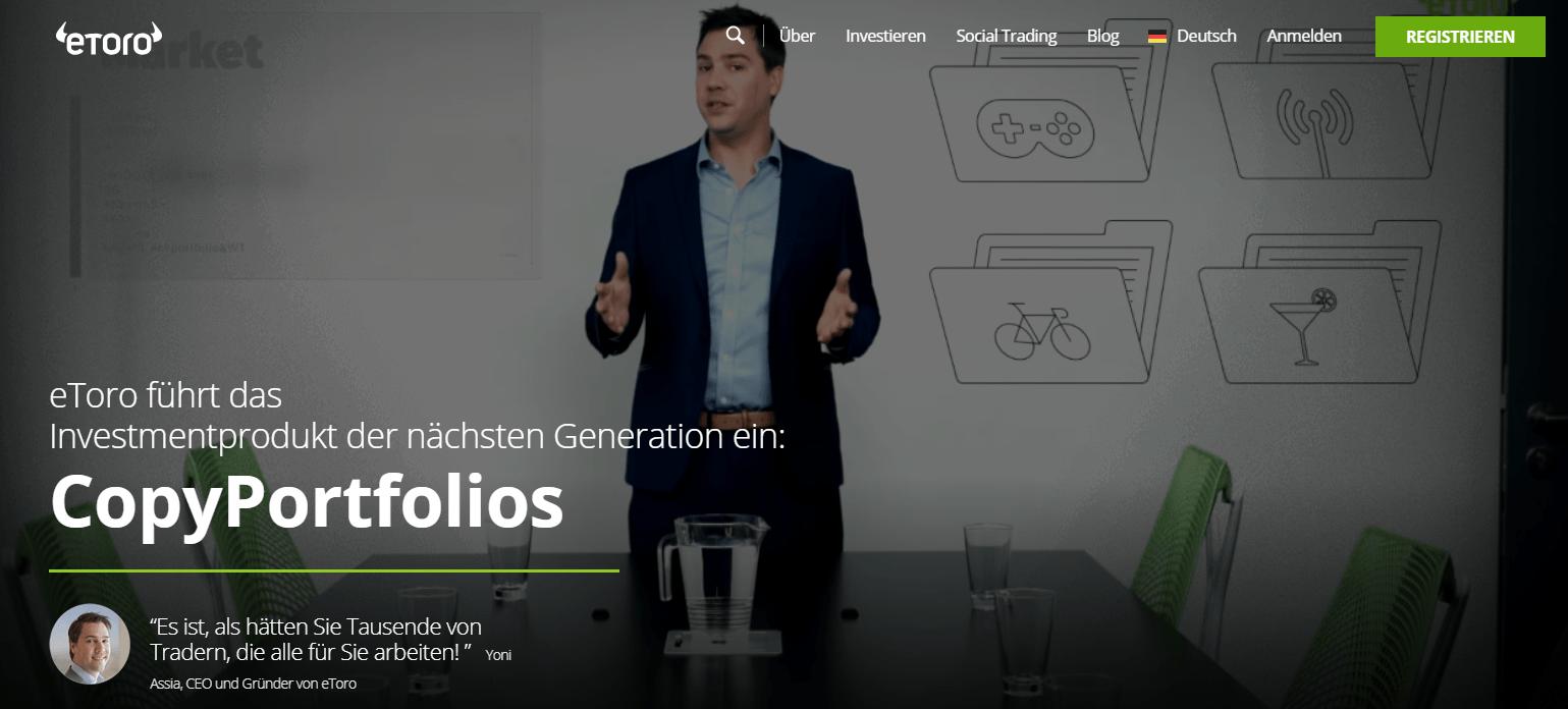 Auf der Social-Trading-Plattform eToro können Anleger Profile von beliebten und herausragenden Tradern kopieren