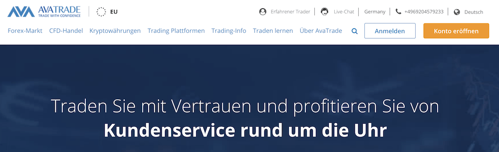Der Kundenservice des Online-Brokers AvaTrade steht rund um die Uhr bereit