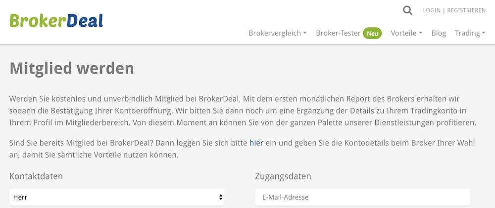 BrokerDeal Kontoeröffnung
