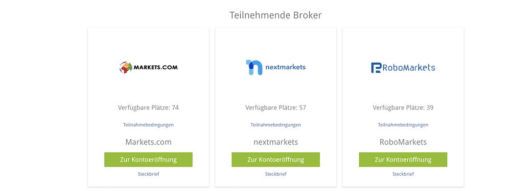 BrokerDeal verfügbare Plätze