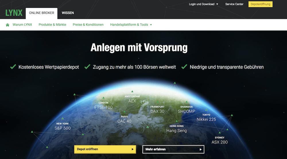LYNX Webseite, LYNX Broker Erfahrungen