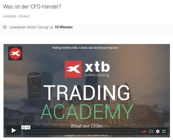 Verschiedene Bereich der XTB Trading-Academy bieten interessante Informationen zum Handel