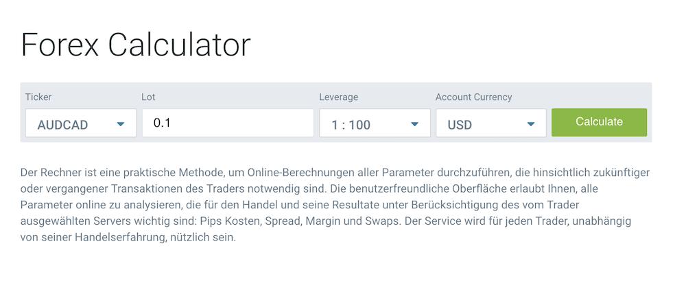RoboMarkets Forex-Calculator