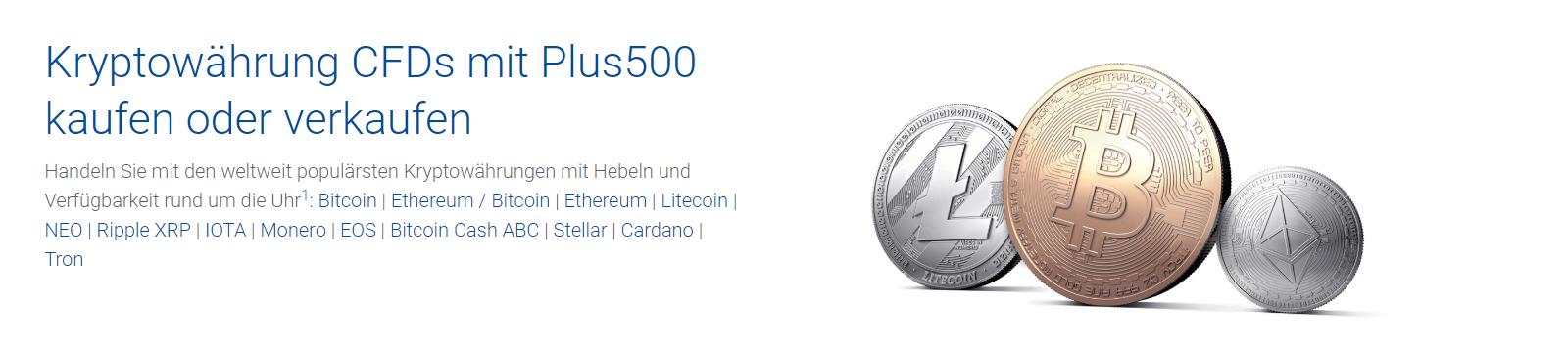 Plus500 ermöglicht den CFD Handel mit Kryptowährungen