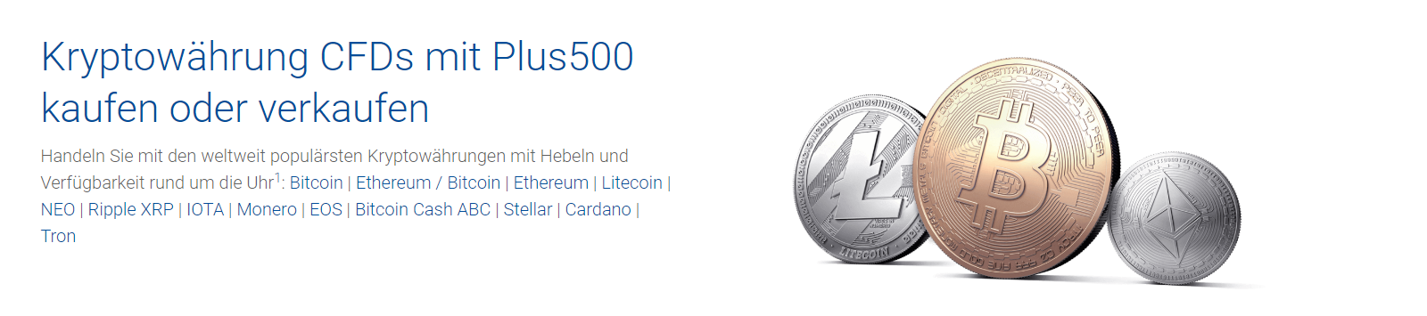 Plus500 ermöglicht den Handel mit Kryptowährungen