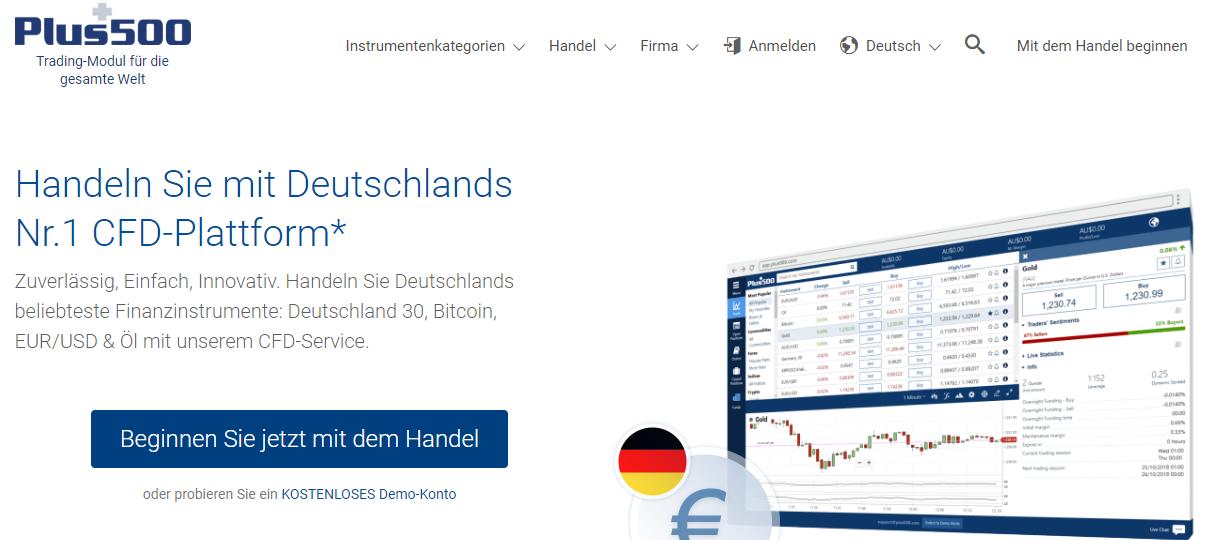 Ein Blick auf die Webseite des CFD- und Forex Brokers Plus500