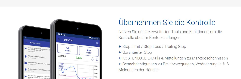 Plus500 bietet eine eigene App für den mobilen Handel an