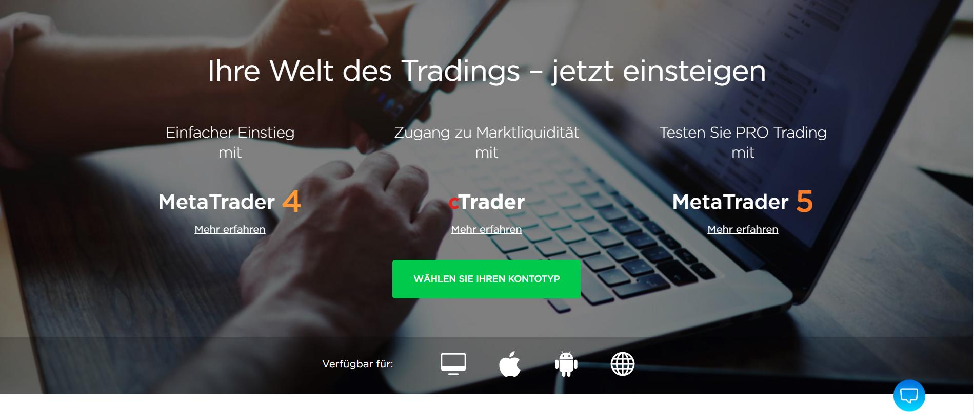 OctaFX bietet verschiedene Plattformen zum Traden an