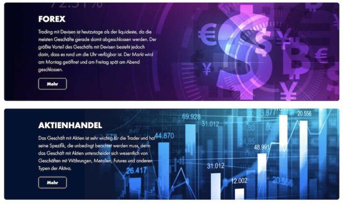 FinmaxFX Handelsprodukte