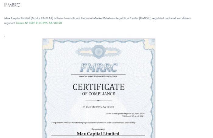 FinmaxFX Regulierung